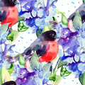 Beautiful blue flowers with bird seamless pattern watercolor illustration Royalty Free Stock Image