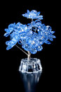 Beautiful blue flowers decorative glass Royalty Free Stock Photo