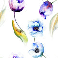 Beautiful blue flowers seamless wallpaper with watercolor painting Royalty Free Stock Photo