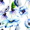 Beautiful blue flowers watercolor painting seamless pattern Royalty Free Stock Photos
