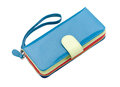 Beautiful blue leather purse Stock Photo