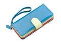 Beautiful blue leather purse Stock Photo