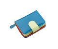 Beautiful blue leather purse for lady Stock Photography