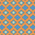 Beautiful blue and orange decorated Moroccan seamless pattern with colorful floral designs