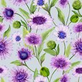 Beautiful blue and purple daisy flowers with green leaves on light background. Seamless spring pattern. Watercolor painting.