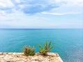 Beautiful blue sea of Peniscola, Spain