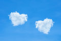 Beautiful blue sky and beautiful cloud heart shape for wedding b Royalty Free Stock Photo