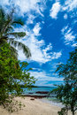 Beautiful blue sky with the beauty beach from Koh Mak island. Royalty Free Stock Photo