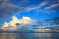 Beautiful blue sky with cloud scape over blue ocean use as natur Royalty Free Stock Photo