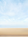Beautiful blue sky and a hotel balcony sea summer background with blank copy space Royalty Free Stock Images