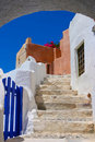 Beautiful blue sky and old staircase in Santorini Royalty Free Stock Photo
