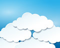 Beautiful blue sky with paper clouds vector illustration of Royalty Free Stock Photo