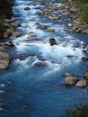 Beautiful blue water in the river in the green valle Royalty Free Stock Photo