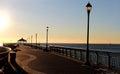 Beautiful boardwalk view at sunrise staten island new york midland beach Stock Images