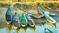 Beautiful boats in dam nai bay near phan rang vietnam morning Stock Photo