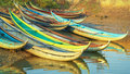 Beautiful boats in dam nai bay near phan rang vietnam morning Stock Photography