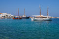 Beautiful boats in the marine bay on the island of Mykonos,Greece Royalty Free Stock Photo