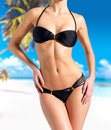 Beautiful Body of woman in bikini at beach Royalty Free Stock Photo