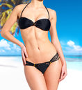 Beautiful Body of woman in bikini at beach Stock Image
