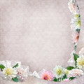 Beautiful border with flowers, lace on vintage background Royalty Free Stock Photo