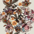 Beautiful botanical illustration pattern in watercolor with draw