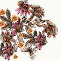 Beautiful botanical illustration in watercolor with drawn vintag
