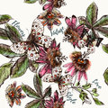 Beautiful botanical pattern with and drawn vintage flowers