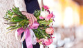 Beautiful bouquet in a female hand Royalty Free Stock Image