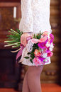 Beautiful bouquet in a female hand Royalty Free Stock Images