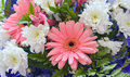 A beautiful bouquet with gerbera and white chrysanthemums.