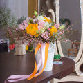 Beautiful bouquet with pink and orange flowers Royalty Free Stock Photo