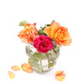 Beautiful bouquet red and orange roses in glass vase isolated on white Royalty Free Stock Photo