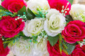 Red and white rose bridal bouquet