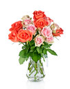 Beautiful bouquet of roses in glass vase Royalty Free Stock Photo