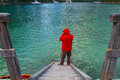 Beautiful Braies lake and the lonely man in the background of Se Royalty Free Stock Photo