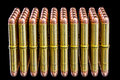 Beautiful brass bullets with copper tops Royalty Free Stock Photo