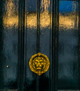 Beautiful brass knocker in the shape of a lion`s head on a backg Royalty Free Stock Photo