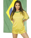 Beautiful brazil soccer fan flag in background isolated on white Royalty Free Stock Photo