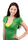 Beautiful brazilian girl attractive with flag on her green t shirt isolated on white Stock Photos