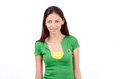 Beautiful brazilian girl attractive with flag on her green t shirt isolated on white Royalty Free Stock Images