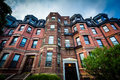 Beautiful brick rowhouses in Back Bay, Boston, Massachusetts. Royalty Free Stock Photo