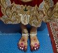Beautiful bride's feet with mehndi design Royalty Free Stock Photo