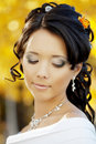 Beautiful bride in the autumn park Stock Photos