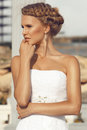 Beautiful bride with blond hair Stock Photography