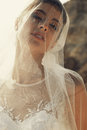Beautiful bride with dark hair in luxurious wedding dress Royalty Free Stock Photo