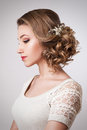 Beautiful bride with fashion wedding hairstyle and accessories Royalty Free Stock Photo
