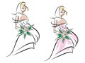 Beautiful bride with flowers in white and pink dress Royalty Free Stock Photo