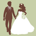 Beautiful bride and groom running Royalty Free Stock Photos