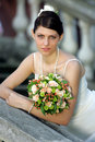 Beautiful bride holding bouquet Royalty Free Stock Photo