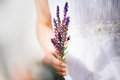 Beautiful bride holding field flowers outdoors in hand pure soft grainy film look and subtle bokeh on and fashion manicure Stock Photography
